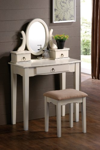 White Finish Traditional Wood Vanity with Bench Mirror & Jewelry Boxes