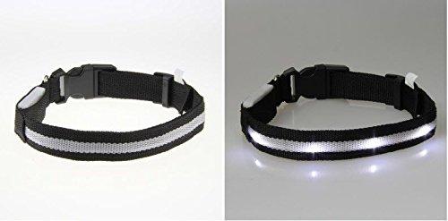 Medium Black Led Pet Dog Cat , Adjustable Nylon Collar Night Safety*Ships From Usa*