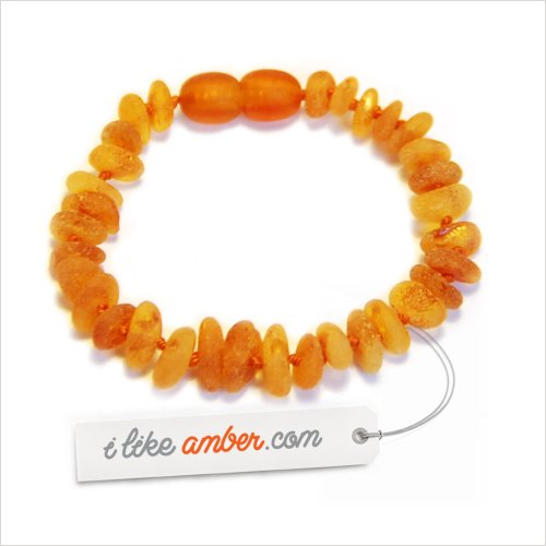 14cm Raw unpolished Genuine Baltic Amber Teething Bracelet Anklet - Child Baby size - Cognac color Beads