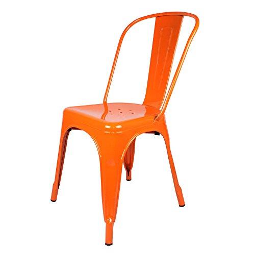 Favorit - Sedia in metallo colore arancione, stile Tolix, 45 x 45 x 85 cm