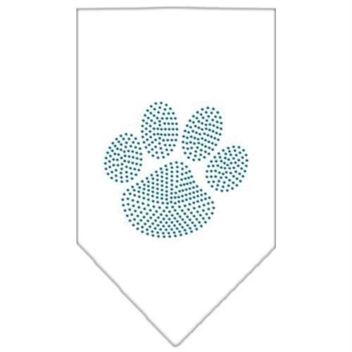 Mirage Pet Products Paw Blue Rhinestone Bandana, Large, White