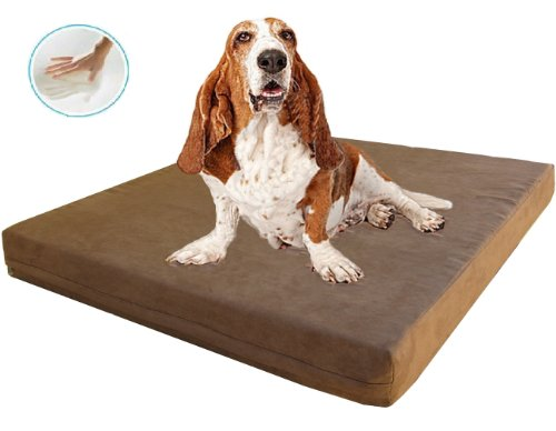 "Orthopedic Waterproof Dog Bed With 100% Memory Foam Pad For Small, Medium, Extra Large To Giant Size Pet : Microsuede In Brown Color With Size At 47""X29""X4"" 47Sp"
