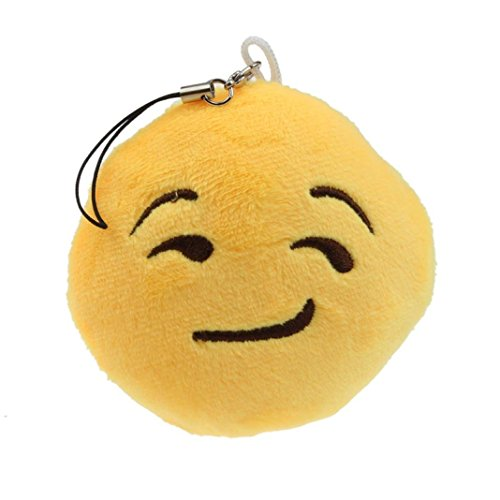 Ammazona Cute Emoji Smiley Emoticon Heart Eyes Key Chain Soft Toy Gift Pendant Bag Accessory
