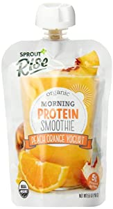 Sprout Rise Yogurt Smoothie, Peach Orange, 5.5 Ounce (Pack of 5)