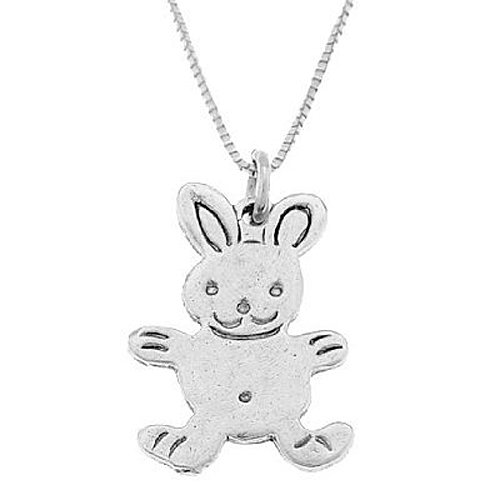 Sterling Silver Flat One Sided Bunny Rabbit Necklace