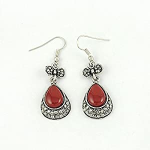Red Pear Drop Earrings, Handmade Vintage Jewellery, Perfect Birthday Christmas Mothers Day Gift