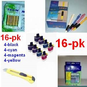 A great deal, 16-pack Brother Compatible lc-41 LC41 16-pk (4-Black/4-Cyan/4-Magenta/4-Yellow) Ink Cartridge Value Pack - Brother MFC + (1) 12 digit solar calculator + 5 ball pen + (1) cutter, snap off, + 4-pk AA batteries, great Value........!!!!...For Br