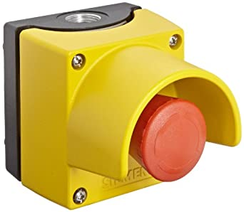 Siemens 3SB38 01-2DF3 Standard Operator Enclosure and Emergency Stop Mushroom Pushbutton, Metal Enclosure, 1 Pilot Device, 40mm Head, Positive Latching, Rotate To Unlatch, Protective Collar, 1 NC Contact Block Function