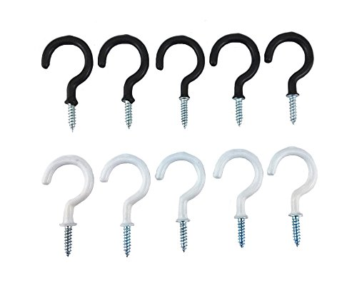yueton 10pcs Black and White Vinyl Coated Screw-In Ceiling Hooks Cup Hooks