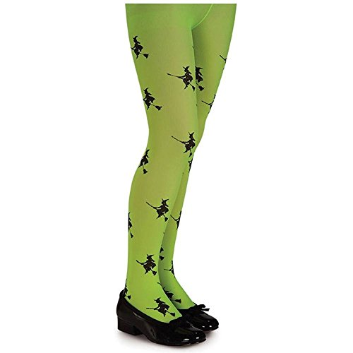 Lime Green Glitter Witch Child Tights - 1