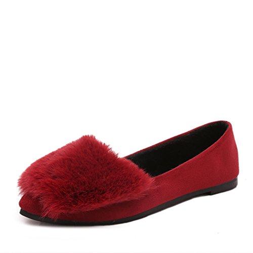 Autunno punte scarpe fagiolo/ pelliccia scarpe/Fondo piatto tacco piatto scarpe/ Scarpe coreane con la paletta-B Longitud del pie=22.3CM(8.8Inch)