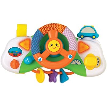 0704-NL Features: -Baby stroller / car seat driver.-Fun sound effects and cheerful melodies.-Turning ignition key with driving sound effects.-Spinning, movable, shaped teething rings.-Your baby can drive too while you do with this playful dashboard a...