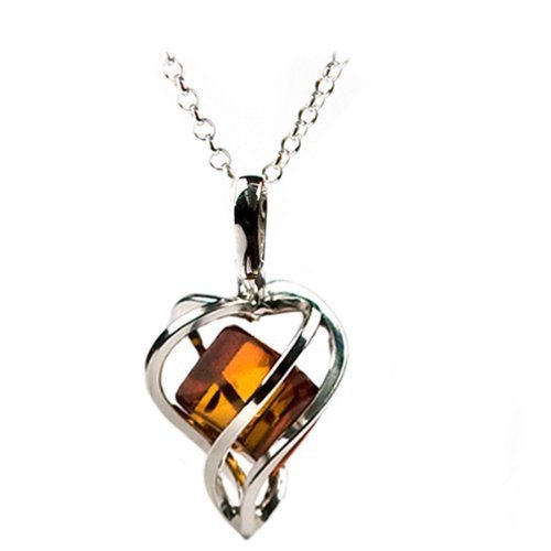 Millennium Collection Certified Elegant Special Genuine Honey Amber and Sterling Silver Heart Pendant Rolo Chain 18