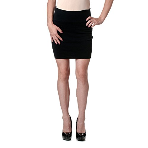 Stretch Simple Cotton Mini Skirt Minijoup Basic Plain Skirt, Black, Medium