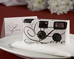 Love Disposable Wedding Camera with Table Card (White) - 35mm Built In Flash (Bulk Buy Sale!)