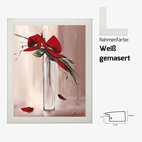 Kunstdruck TRAMONI - Les fleurs rouges II Blumenmotiv roter Blumenstrauß in Vase 40 x 50 cm mit MDF-Bilderrahmen & Acrylglas reflexfrei, viele Farben zur Auswahl, hier Weiß gemasert
