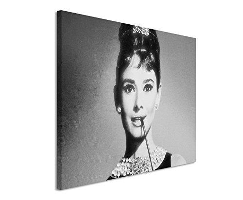 50x70cm Leinwandbild schwarz weiß in Topqualität Venedig Italien Filmstar Audrey Hepburn