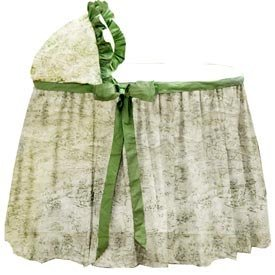 Sage Toile Bassinet Liner and Hood - size 17x31