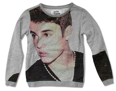 Justin Bieber All-Over Print Picture Image Grey Girls Juniors Crewneck Sweatshirt