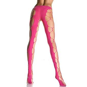 Net Open-seat Crotch Lingerie Legging Pantyhose Hot Pink: Clothing
