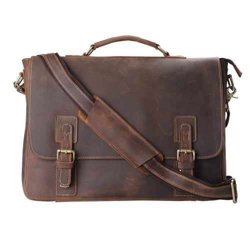 Kattee Mens Brown Leather Laptop Messenger Briefcase Crossover Shoulder Bag