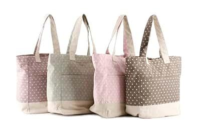Polka Dot Coffee Bean/Sage/Candy Pink/Mulberry Print Cotton Canvas Beach/Shopper Bag. (Candy Pink)