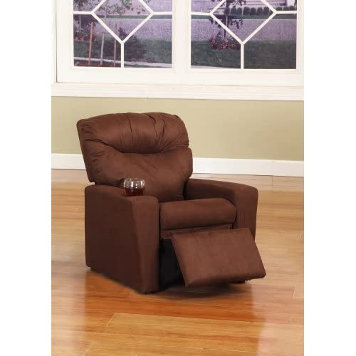 Dark brown microfiber childrens kids recliner for Kids recliner chair