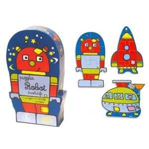 Picture of Vilac robot set of 3 wooden puzzles by vilac - 2 available! (B00378R6CM) (Pegged Puzzles)