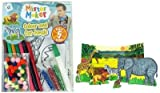 Mister Maker Colour and Cut Jungle Kit. Each kit contains: A jungle backdrop, 5 animals (Lion, Zebra, Elephant, Giraffe and Wart Hog), glitter, glue, bog of Pom Poms and 6 Coloured Felt Tip Pens and an instruction sheet. These can then be played with in