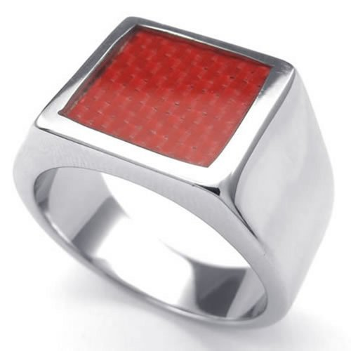 Konov Jewelry Stainless Steel Band Carbon Fiber Mens Womens Ring, Color Red Silver - Size 11