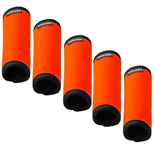 hibate-comfort-neoprene-luggage-handle-wrap-grips-fluorescent-orange-pack-of-5