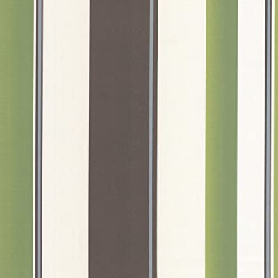 Green Brown Cream Striped Wallpaper