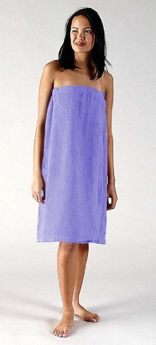 Women's 100% Terry Cotton Shower Body Wrap (S/M, Lilac)