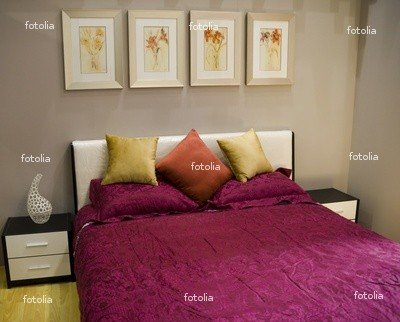 Wallmonkeys Peel and Stick Wall Graphic - Interior of the Room with Large Bed - 36