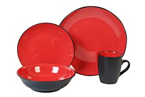 Gibson vivendi 2 tone 16 piece red and black - Black and red dinnerware sets ...