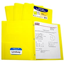 C-Line Two-Pocket Heavyweight Poly Portfolio with Prongs, For Letter Size Papers, Includes Business Card Slot, 1 Case of 25 Portfolios, Yellow (33966)
