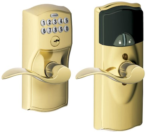 Schlage Fe599Nx Cam 505 Acc 505 Home Keypad Lever With Z-Wave Technology, Bright Brass