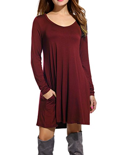 Bluetime Women's Christmas Basic Long Sleeve Casual Loose T-Shirt Dress (S, Wine #2)