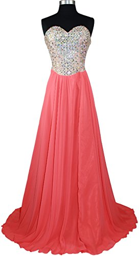 TF Star Women's Strapless Beaded Corset Formal Evening Dress (Small, Tangerine)