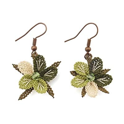 Green Pansy Hook Earrings
