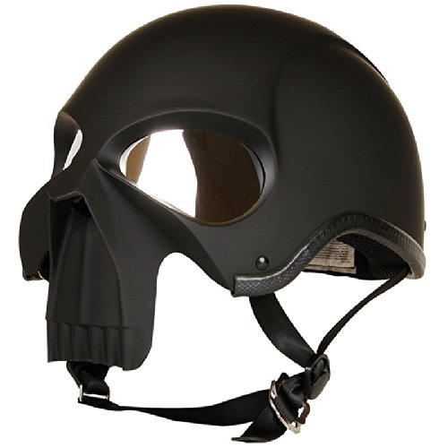 3D Skull Skeleton Matte Black Half Motorcycle Cruiser Chopper Biker Shorty Helmet DOT (L)