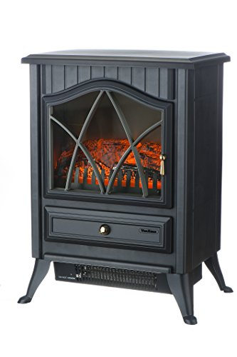 VonHaus 1500W Handy Electric Stove Heater Fireplace / Space Heater with Log Burning Flame Effect