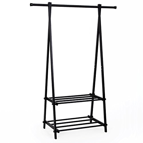 SONGMICS Black Metal Coat Rack 2-tier Garment Drying Rack Entryway Organizer URCR22B (Bedroom Clothes Rack compare prices)