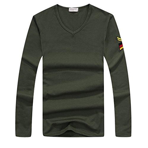 QHGstore T-shirt manica lunga da uomo stretti Slim girocollo camicia casual sport Tee Shirts verde XXL