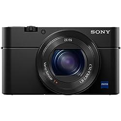Sony DSC-RX100 IV Digitalkamera (Stacked Exmor RS CMOS Sensor, 40-fach Super-Zeitlupe, 4K Video, Anti-Distortion Verschluss, Pop-Up-Sucher, 24-70 mm ZEISS Vario-Sonnar T) schwarz