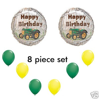 John Deere-LIKE Farm tractor Birthday Party Balloons Decorations Supplies - 1