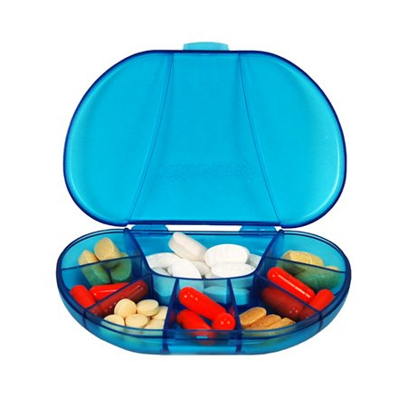 """Multi-Day Vitacarry 8 Compartment Pill Box Holds Up To 60 Pills Actual Size: 4.5""""W X 3.0""""D X .93""""H (Blue)"""
