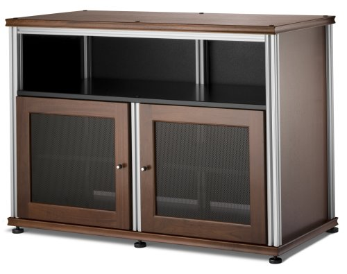 Salamander Synergy 329 A/V Cabinet W/ Two Doors & Center Channel Shelf (Walnut/Silver)