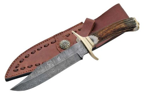 Szco Supplies Damascus Brass Guard Bowie Knife
