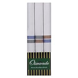 Osmonde Mens Cotton Essential Handkerchiefs Pack of 3